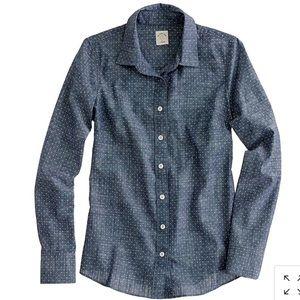 J Crew Perfect shirt in chambray polka dot sz 2
